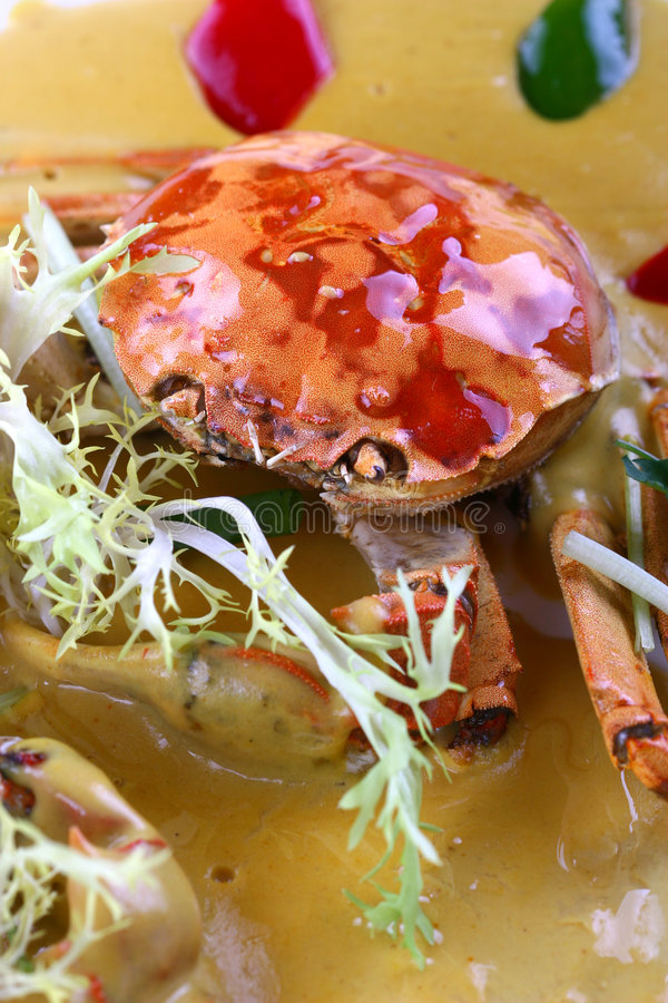Fry asian food-crab. Asian food. Stir fry of crab and vegetables stock photo