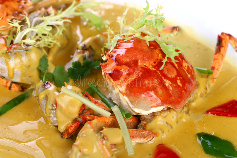 Fry asian food-crab. Asian food. Stir fry of crab and vegetables stock images