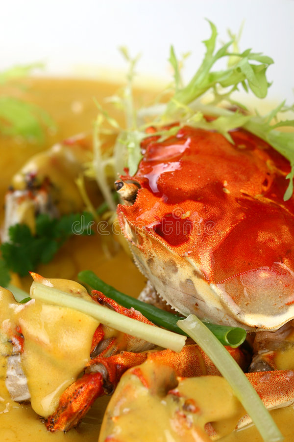 Fry asian food-crab. Asian food. Stir fry of crab and vegetables royalty free stock photography