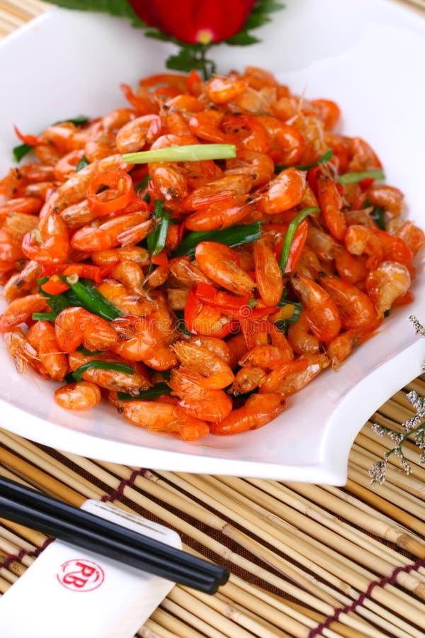 Fry asian food shrimp. Asian food. Stir fry of pork and vegetables royalty free stock photos