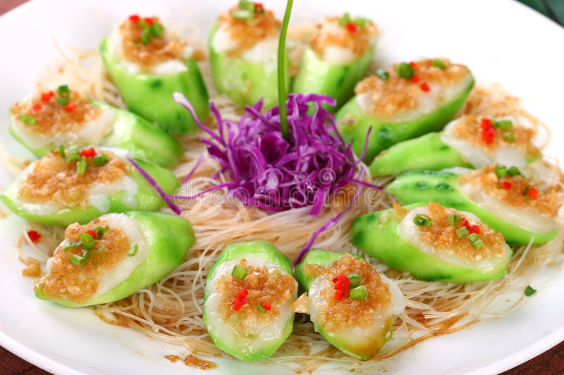 Fry asian food-towel gourd stock photography