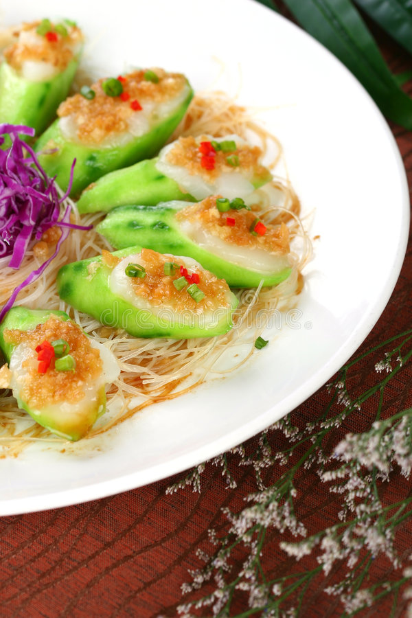 Fry asian food-towel gourd. Asian food. Stir fry of towel gourd and vegetables stock photos