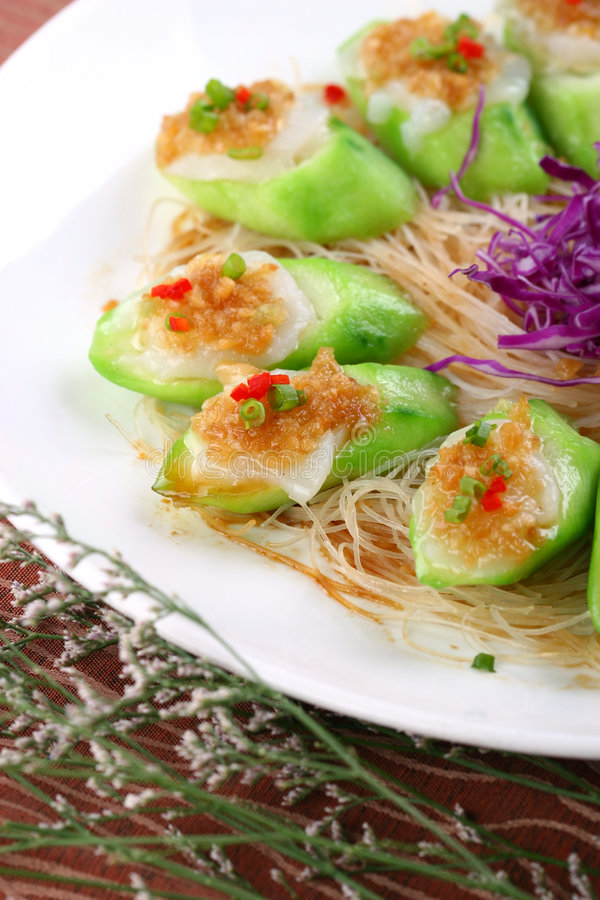 Fry asian food-towel gourd. Asian food. Stir fry of towel gourd and vegetables royalty free stock photos