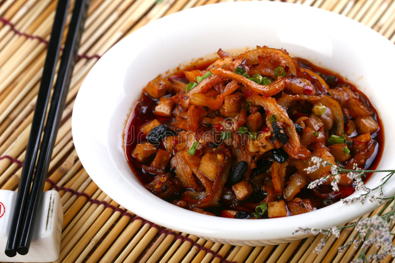 Fry asian food-towel gourd. Asian food. Stir fry of towel gourd and vegetables stock image