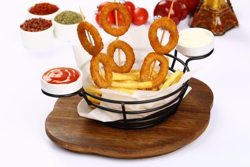 fry cebulkowych pierścieni french zdjęcia royalty free