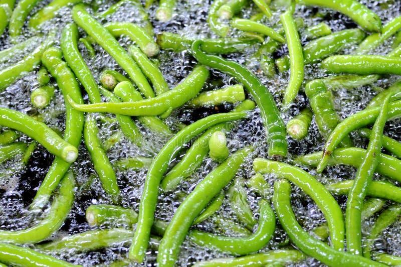 Fry green pepper