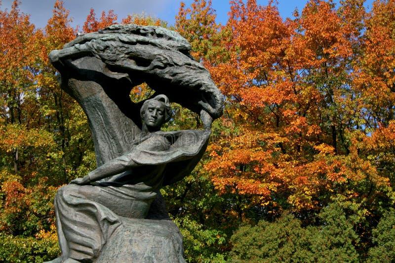 Fryderyk Chopin monument i Warszawa i nedgångfärger royaltyfri fotografi