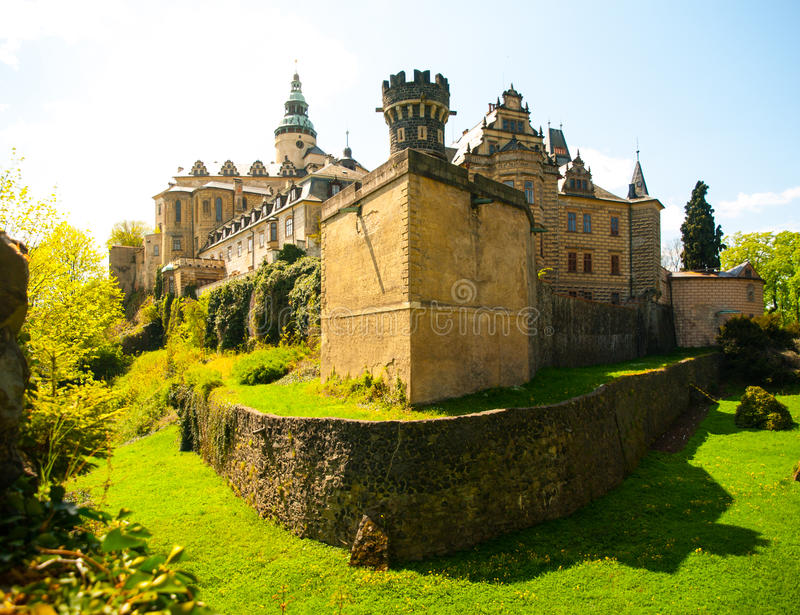 Frydlant castle in northern Bohemia. Dry castle moat around Frydlant castle in Northern Bohemia, Czech Republic stock photography