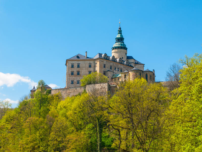 Frydlant Castle in Northern Bohemia. Frydlant v Cechach - Gothic castle and Renaissance chateau with high tower in northern Bohemia, Czech Republic royalty free stock photos