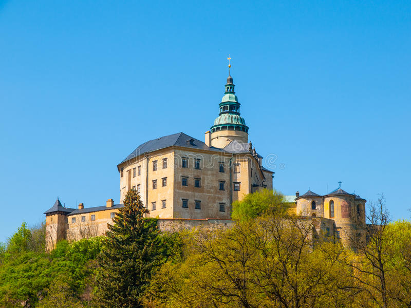 Frydlant Castle in Northern Bohemia. Frydlant v Cechach - Gothic castle and Renaissance chateau with high tower in northern Bohemia, Czech Republic stock photography