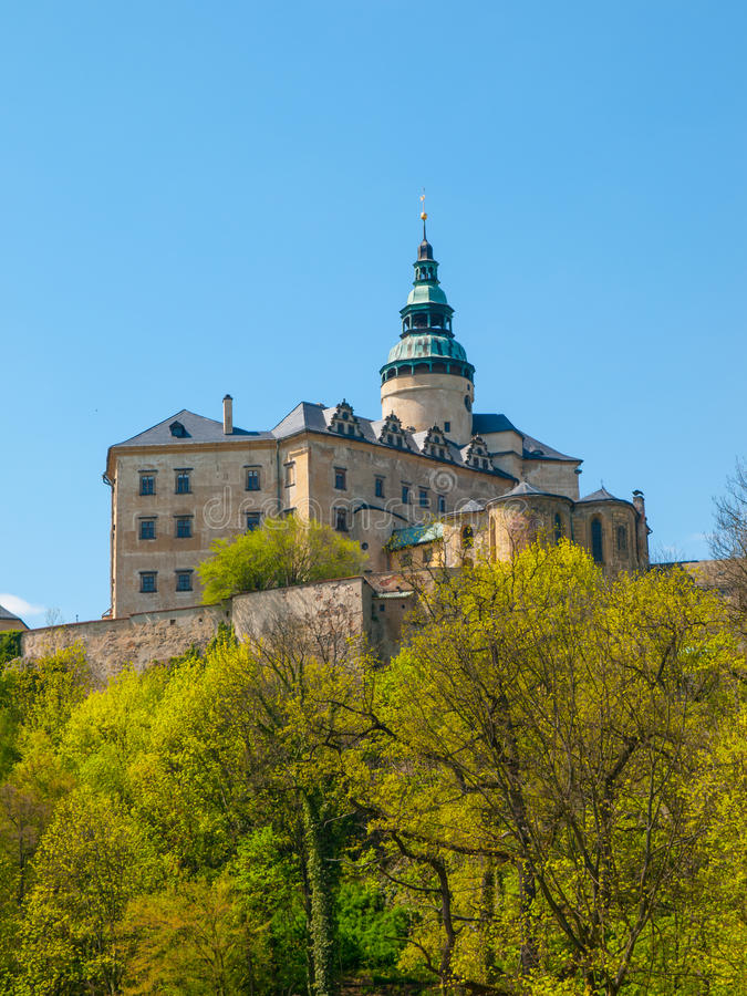 Frydlant Castle in Northern Bohemia. Frydlant v Cechach - Gothic castle and Renaissance chateau with high tower in northern Bohemia, Czech Republic stock images