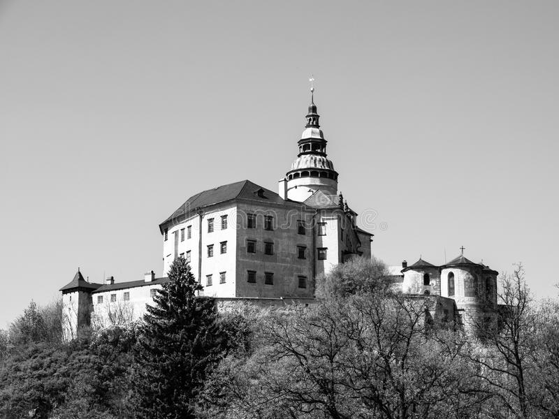 Frydlant Castle in Northern Bohemia. Frydlant v Cechach - Gothic castle and Renaissance chateau with high tower in northern Bohemia, Czech Republic. Black and royalty free stock photography
