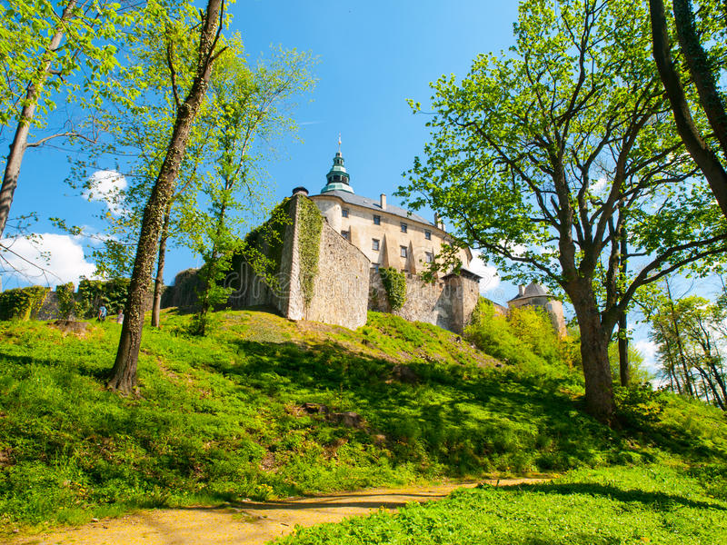 Frydlant Castle in Northern Bohemia. Frydlant v Cechach - Gothic castle and Renaissance chateau with massive fortification in northern Bohemia, Czech Republic stock image
