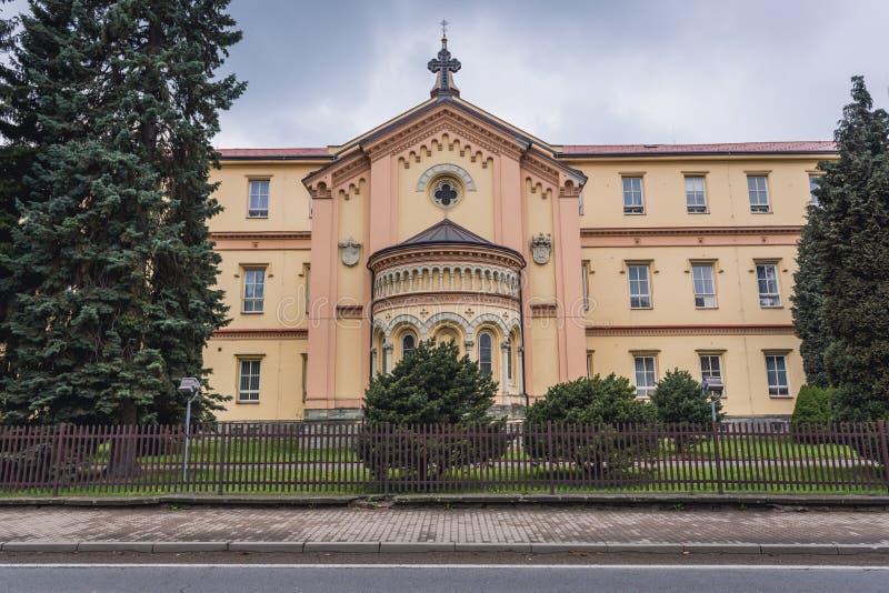 Frydlant nad Ostravici. Chapel and nursing home building in Frydlant nad Ostravici, small town in Czech Republic stock photos