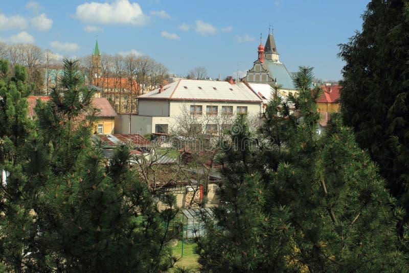 Frydlant scenery. Church of the Holy Cross in Frydlant, Czech Republic stock photo
