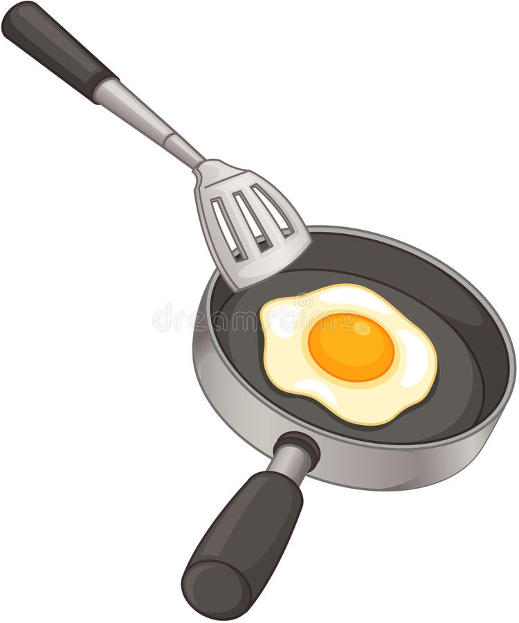 Frying. Clipart style cartoon of egg in pan vector illustration