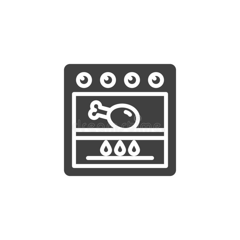 Frying chicken in grill stove vector icon. Cooking process filled flat sign for mobile concept and web design. Chicken leg in gas oven glyph icon. Symbol, logo stock illustration