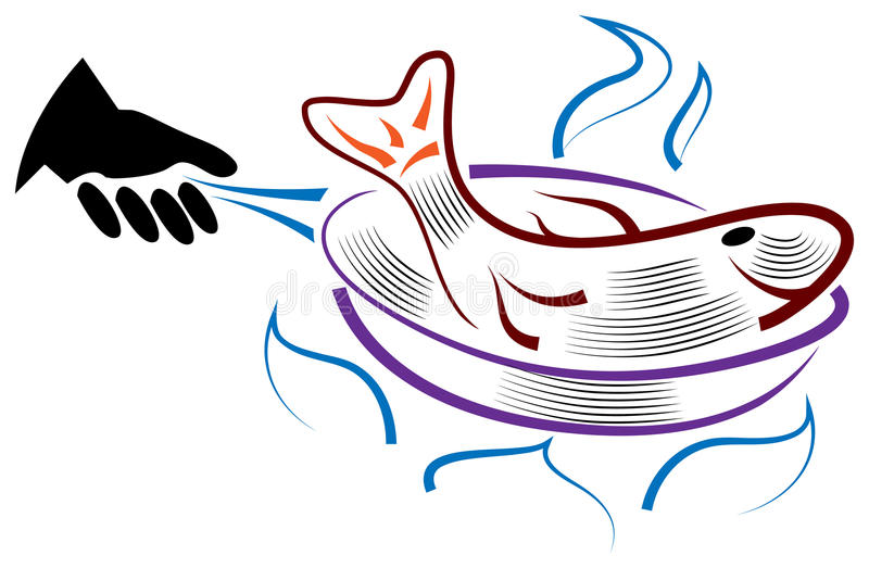 Frying fish. With pan line art design vector illustration
