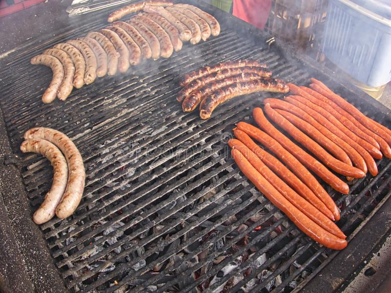 Grill Frying Fresh Meat Barbecue Sausages Bbq Picnic