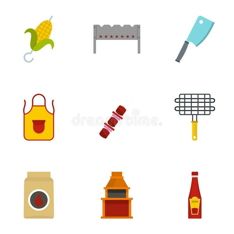 Frying meat icons set, flat style. Frying meat icons set. Flat set of 9 frying meat vector icons for web isolated on white background stock illustration