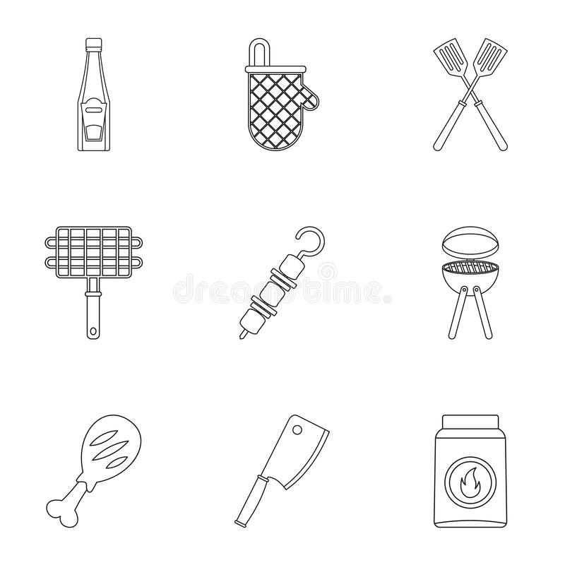 Frying meat icons set, outline style. Frying meat icons set. Outline set of 9 frying meat vector icons for web isolated on white background royalty free illustration