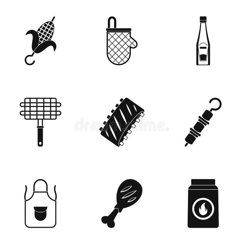 Frying meat icons set, simple style. Frying meat icons set. Simple set of 9 frying meat vector icons for web isolated on white background stock illustration