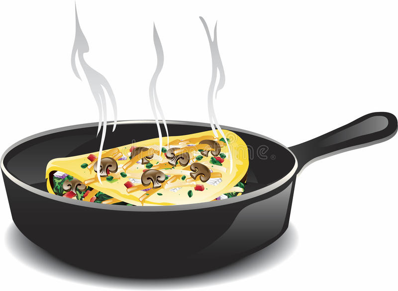 Frying omelet. Illustration of a frying pan with a vegetarian omelet stock illustration