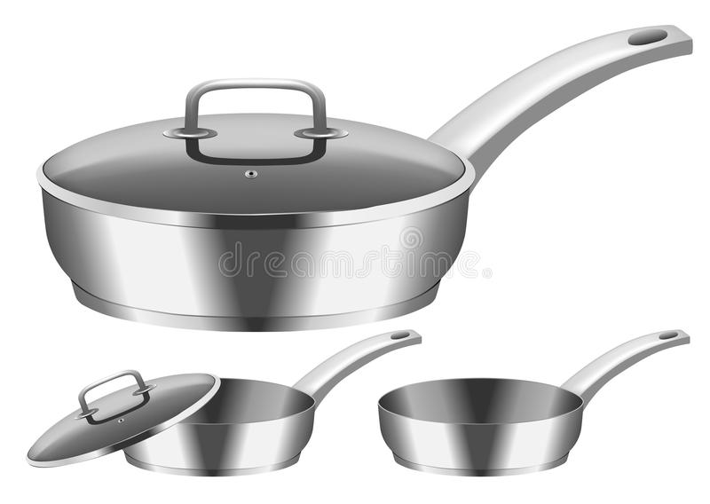 Frying pan. Vector image of frying pan with cover stock illustration