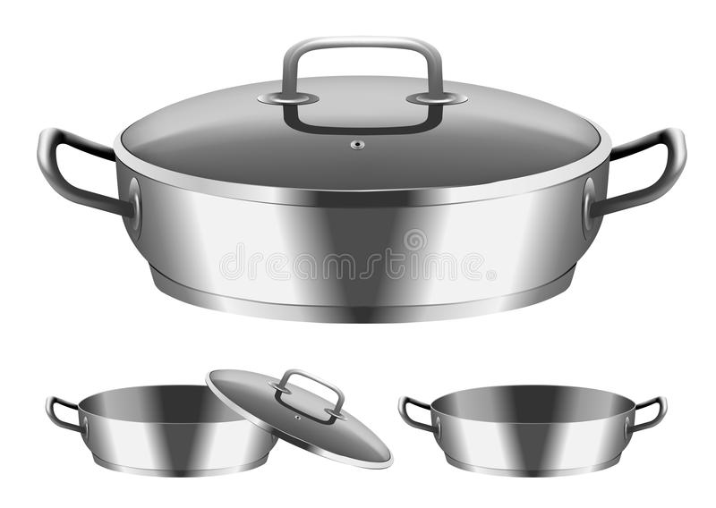 Frying pan. Vector image of frying pan with cover royalty free illustration