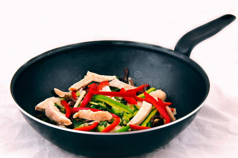 Frying pan. Vegetables on a frying pan royalty free stock images