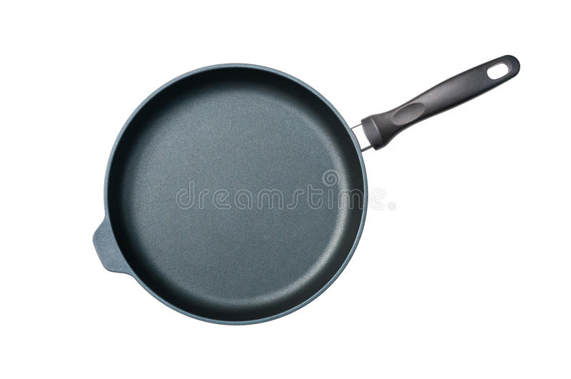Frying Pan. A round non-stick frying pan, isolated stock photo