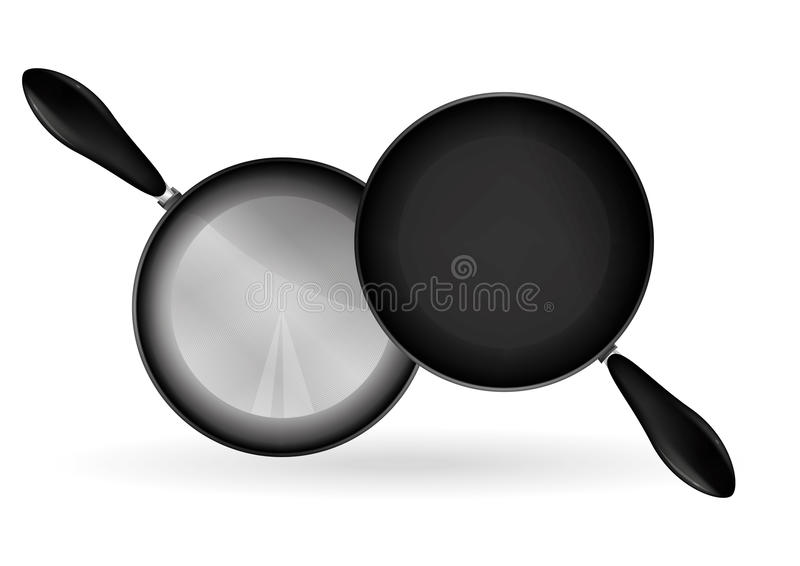 Frying Pan. A teflon frying pan illustration, metalic and real shading with drawing technic stock illustration