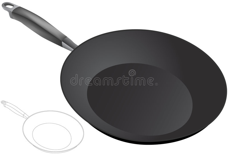 Frying Pan - 3D. 3D image of a frying pan stock illustration