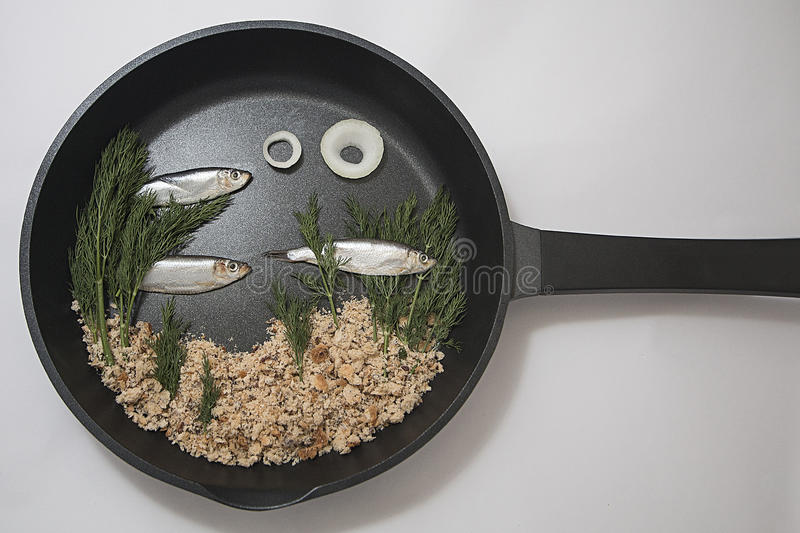 Frying Pan Aquarium. A collage of ingredients presented in a frying pan. Ingredients include Spratt fish, onion, bread crumbs and thyme stock images