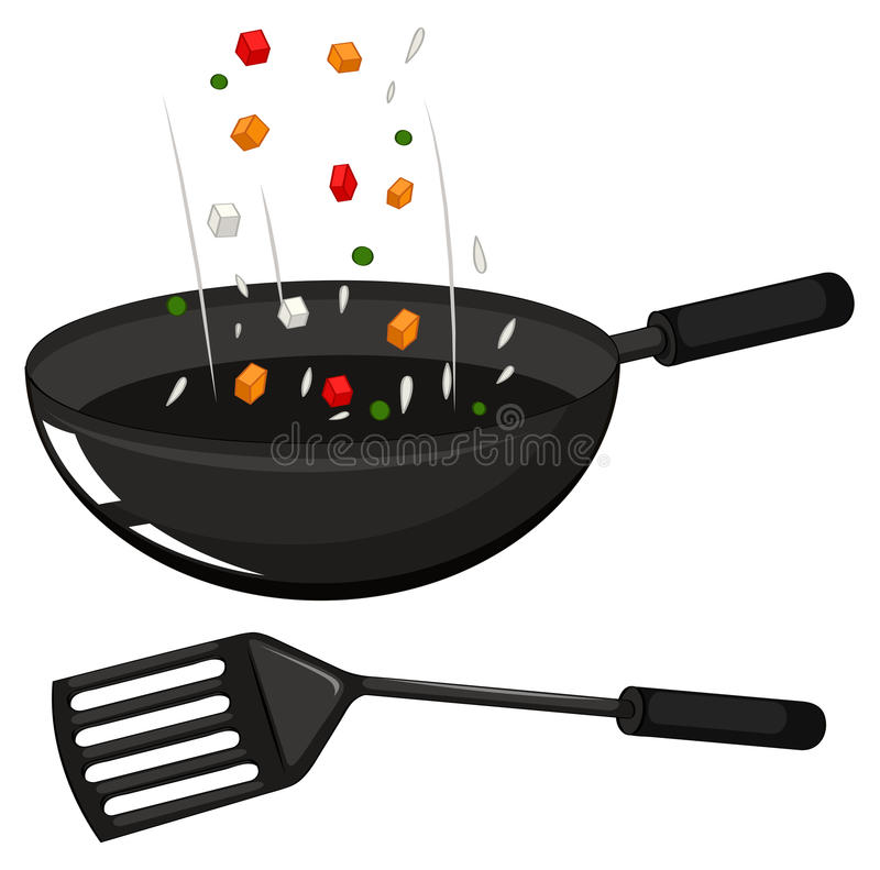 Frying pan and black spatula. Illustration stock illustration