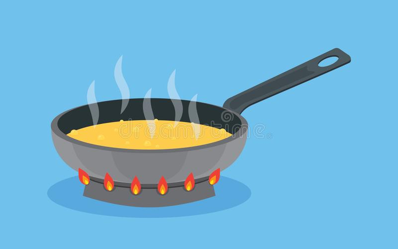 Frying pan with butter on fire, cooking food. Frying pan with butter on fire in the process of frying, cooking food, vector illustration vector illustration