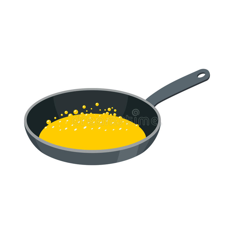Frying pan with butter isolated. Kitchen utensils for cooking food stock illustration