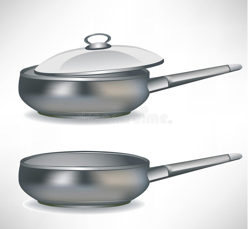 Frying pan with/without cap. Frying cooking pan with/without cap stock illustration