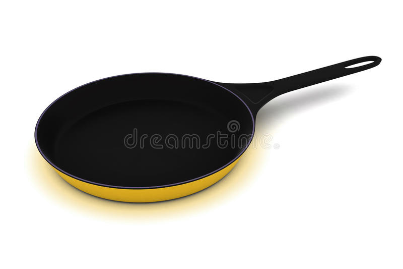 Frying Pan. A Colourful 3d Rendered Frying Pan Illustration stock illustration