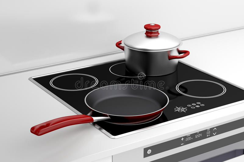 Frying pan and cooking pot. At the induction stove stock illustration