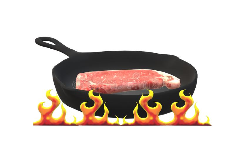 A frying pan cooking raw meat under some flames royalty free stock image