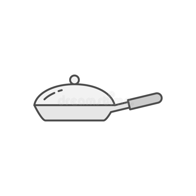 Frying Pan with Cover icon. Kitchen appliances for cooking Illustration. Simple thin line style symbol. Eps 10 royalty free illustration