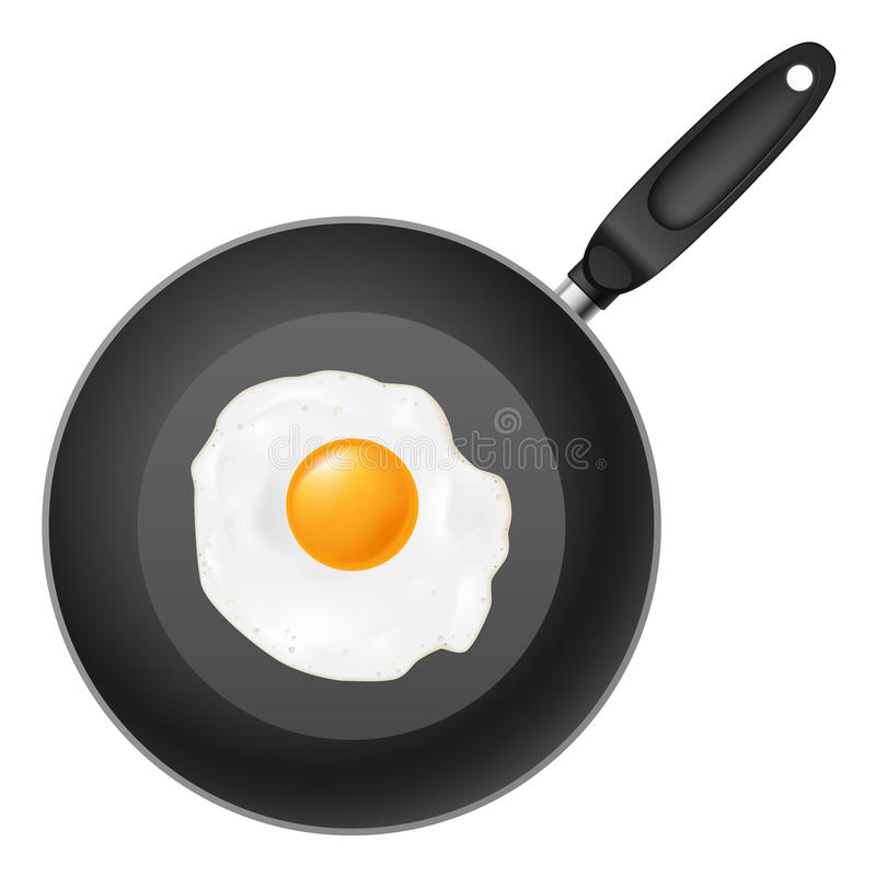 Frying pan with egg. Illustration on white background vector illustration
