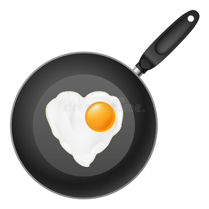 Frying pan with egg. Frying pan with heart-shaped fried egg. Illustration on white background stock illustration
