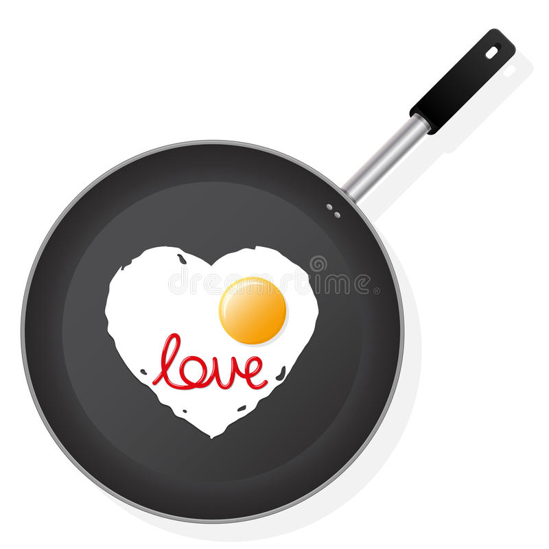 Frying pan with egg vector illustration