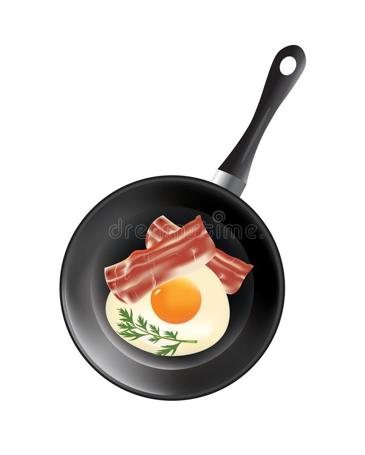Frying pan with egg and bacon. Vector stock illustration