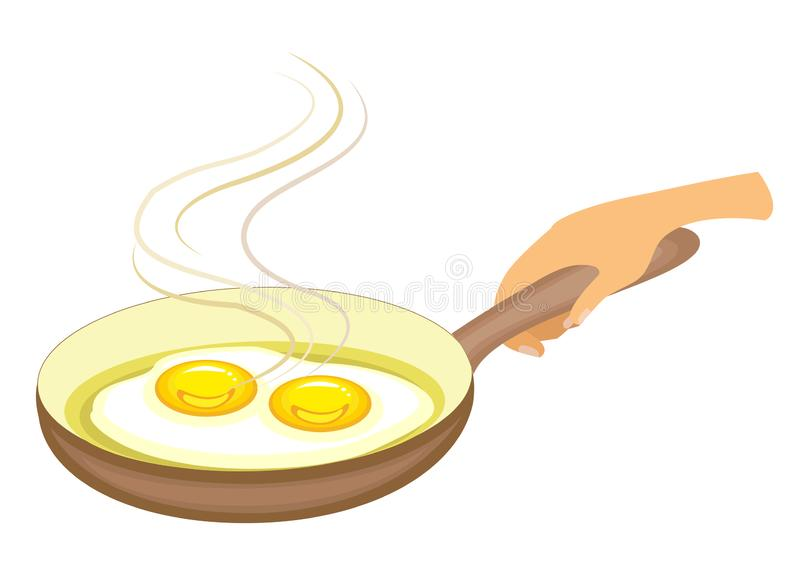 In the frying pan the egg is fried. Fast and nutritious breakfast. Omelet is delicious and healthy for lunch or dinner. Vector stock illustration