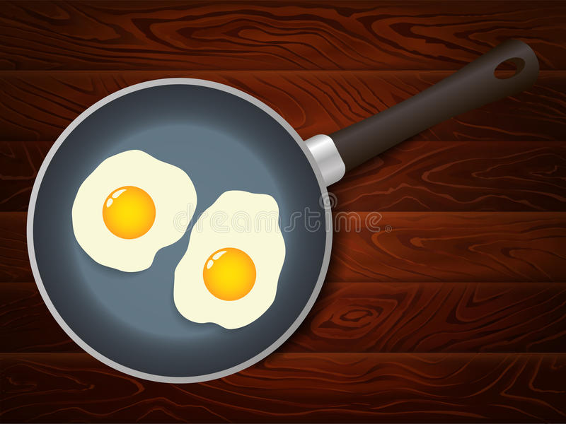 Frying pan eggs breakfast wooden table. Eggs on frying pan on brown wooden table. Vector image can be used for restaurant and cafe menu design, food posters stock illustration