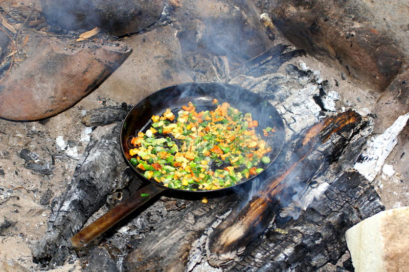 Download Frying pan on fire stock photo. Image of mushroom, fungus - 26167072
