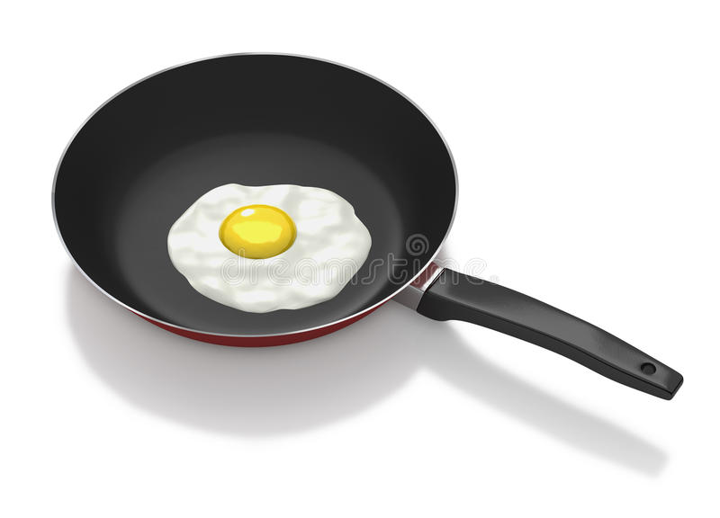 Frying pan with fried egg on white background. Non stick frying red frying pan with fried egg vector illustration